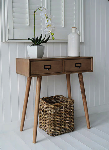 Henley scandi hall console table with 2 drawers for a little scandi chic in your beach home interior