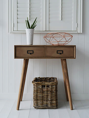 Henley conosle table for New England, cottage and coastal interior designed homes. Perfect scandi hallway furniture