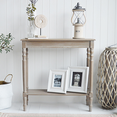 New England style hallway furniture. Finished in white washed driftwood grey console table with shelf