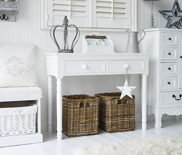 Photograph of white hallway furniture New England console table