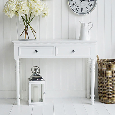 New England white console table with drawers for white hallway furniture