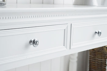 New England white console table with drawers and silver handles