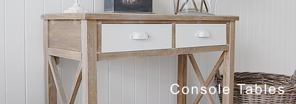 The White Lighthouse Console Tables, grey, narrow, small and white console table available with drawers for all interior styles including coastal, New england, french, industrial and country cottage