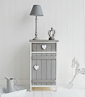 Heart Cottage white and grey lamp table with cupboard and drawer