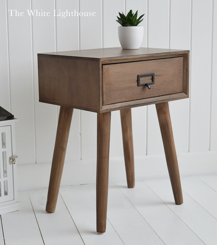 Scandi Bedside lamp table with a drawer for essential bedroom storage
