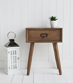 Henley Vintage Scandinavian lamp bedside table with drawer