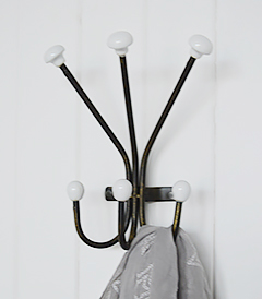 Belfast coat rack with 6 hooks for coat storage hallway furniture solutions from The White Lighthouse Coastal, country and New England interior designs from The White Lighthouse