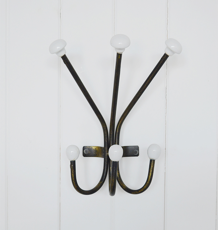 Belfast coat rack with 6 hooks for coat storage hallway furniture solutions from The White Lighthouse Coastal, country and New England interior designs