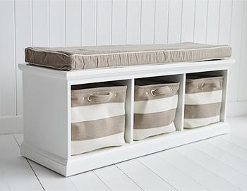 Kingston White Storage Bench Hall Furniture