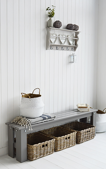 Kittery Grey Hallway Bench, shown with Kingston and Casco Bay  baskets