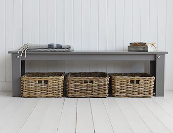 Kittery Hall bench in grey