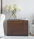 Faux leather storage trunk