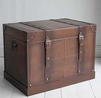 Faux leather storage trunk hall or living storage furniture for Storage trunks for living room