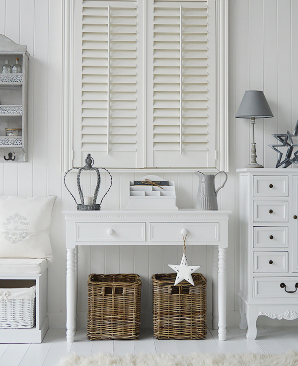 White hall furniture, New England consile table and storage bench