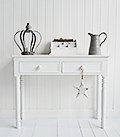 Our narrow New England white console table for small hall furniture