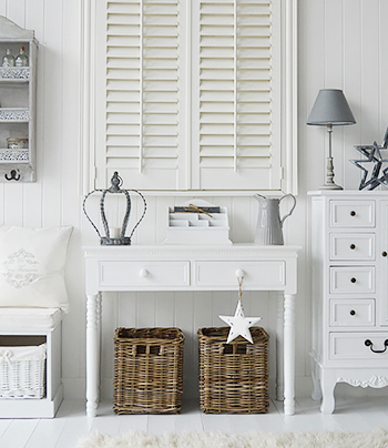 White Window Shutters give plently of privacy and are a beautiful window covering that will remain stylish for many years to come