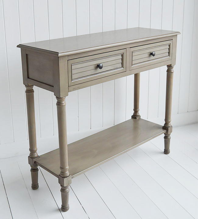 Newport cottage french grey console table for country cottage interior design
