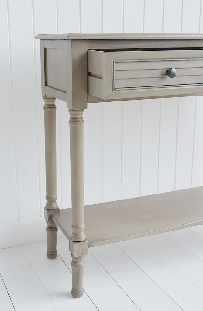Newport cottage french grey console table for cottage interior design
