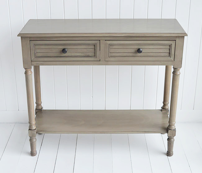 Newport cottage french grey console table for country hall interiors