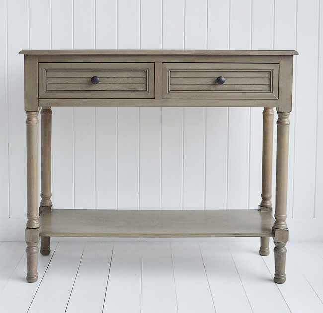 Newport cottage french grey console table for country hallway interiors