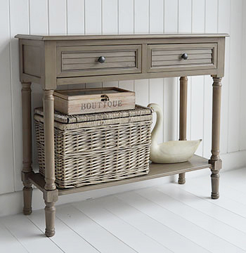 Newport French Grey Console Table For Country Cottage Interior Design - Cottage style console table