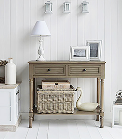 Newport french grey console table with shelf and drawers for hallway furniture in country cottage home styled interiors. Add extra storage with underneath baskets