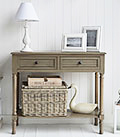 Newport french grey console table for living room and hall furniture in country cottage home interiors