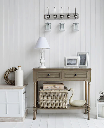 Newport french grey console for traditional country hallway decor styles
