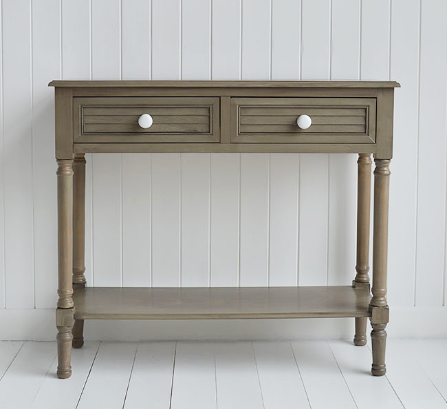 Newport console table in french grey for beach style homes