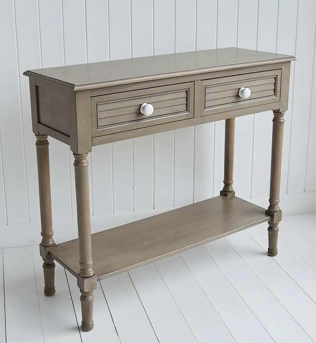 Newport console table in french grey for living room and hall furniture in beach dtyle homes