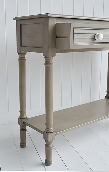 Newport console table in french grey for hallway and living room furniture in New England