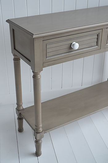 Newport Console Table In French Grey For Coastal Living Room Furniture