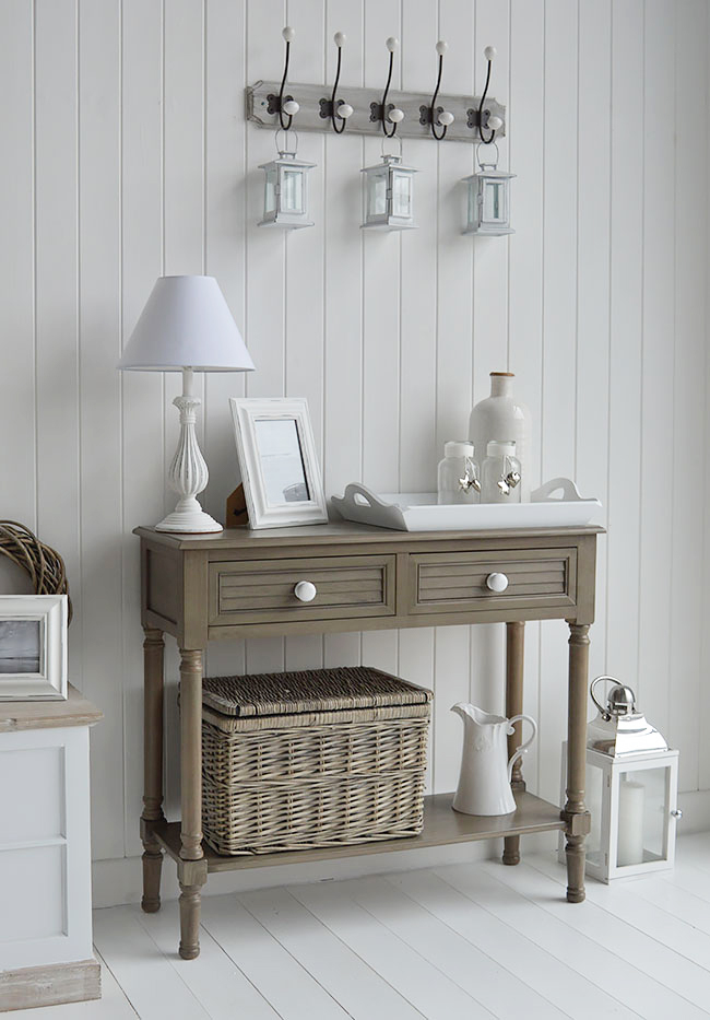 Newport console table in french grey for coastal interiors