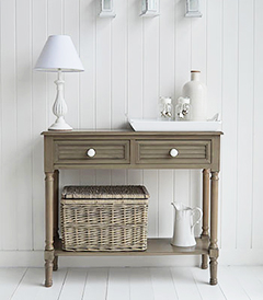 Newport french grey console table for hall furniture in coastal and New England home style interiors