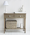 Newport french grey console table for living room and hall furniture in coastal and New England home interiors