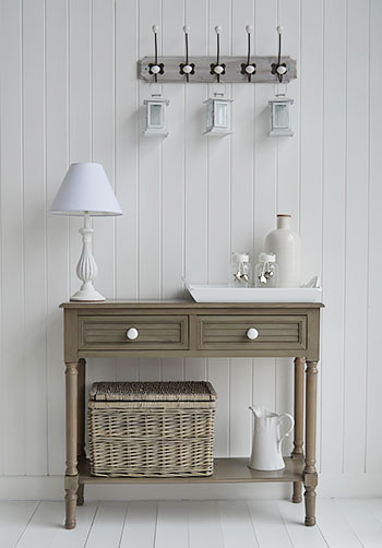 Newport console table in french grey for New England interiors