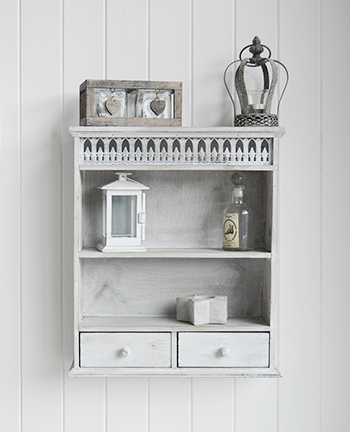 Grey Washed Wooden Shelf With Drawers Hall Furniture