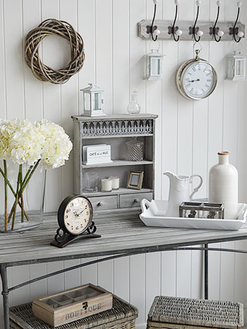 Grey hallway furniture and accessories for cottage, beach, fench and scandinavian interiors