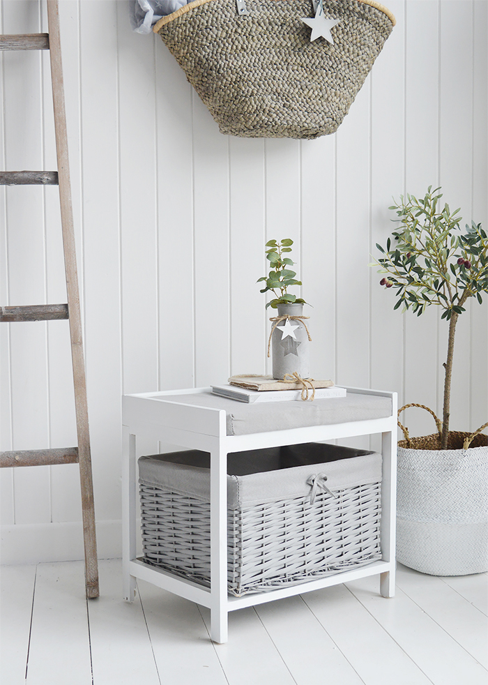 Plymouth Grey White Storage Seat Basket Cushion from The White Lighthouse New England, Coastal Country Scandinavian furniture