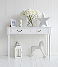 White Provence hall table with drawers