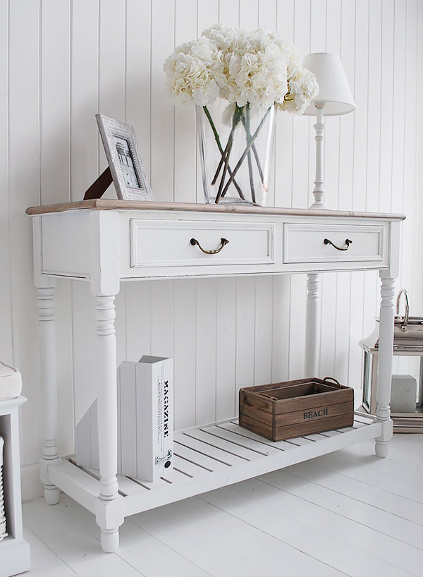 brittany white console table for french hall furniture. Black Bedroom Furniture Sets. Home Design Ideas