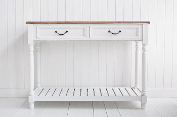white console table with two drawers antique brass handles and a