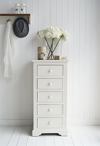 Rockport cream tall narrow chest of drawers for living room furniture