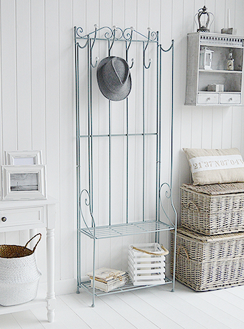 St Malo grey coat rack with shelves. Simple but pretty storage to match all white furniture