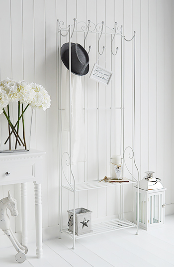 St Malo White Freestanding Coat Rack With Shelves Simple