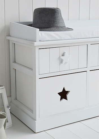 Plymouth white storage bench with 6 drawers and cushion for hall furniture