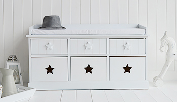 Plymouth white storage bench with 6 drawers for hallway furniture