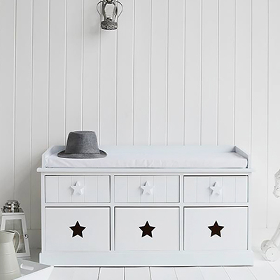 Plymouth white star storage bench