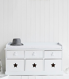 Plymouth white storage bench with 6 drawers for everyday hallway storage