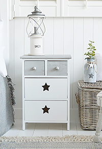 Plymouth Grey and White Str Bedside cabinet with four rawers